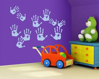 Handprints wall decal - removable multiple handprints decal
