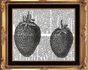 STRAWBERRIES - Vintage Dictionary Print to Frame Beautiful Antique Twins Strawberry Black and White on oOld Page
