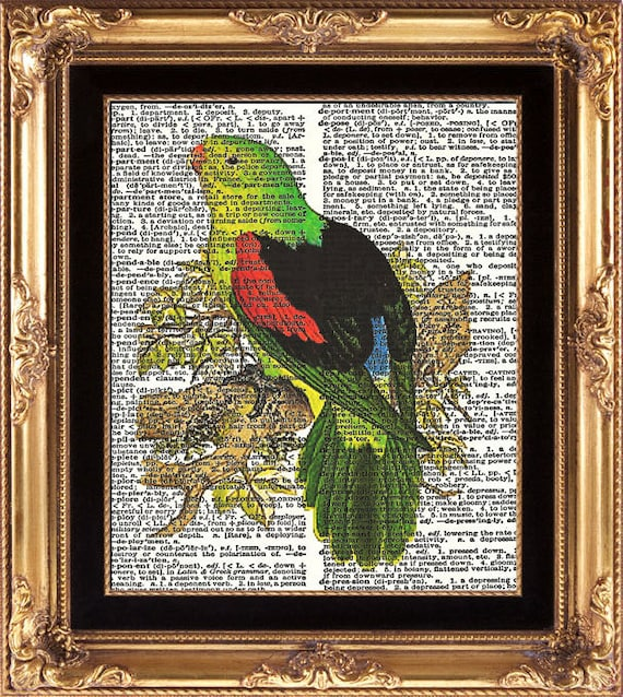 Green Bird Tree Dictionary Page Wall Art Antique Book page Art Print