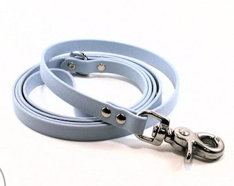 """Pastel Baby Blue Small Dog Leash - 1/2"""" (12mm) Biothane -  Thin Dog Lead - Choice of: 4ft, 5ft, 6 ft (1.2m, 1.5m, 1.8m) and hardware type"""