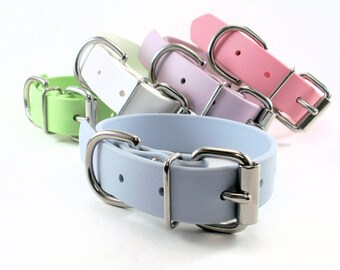 """Pastel Baby Blue Dog Collar - 1"""" (25mm) Wide - Waterproof Biothane Dog Collar - Leather Look and Feel - Stainless or Brass Hardware"""