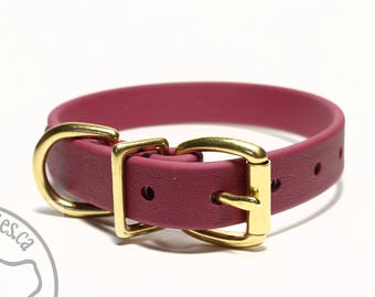 "Wine Merlot Biothane Dog Collar - 3/4"" (19mm) wide - Burgundy - Custom Collar - Leather Look and Feel - Stainless Steel or Brass Hardware"