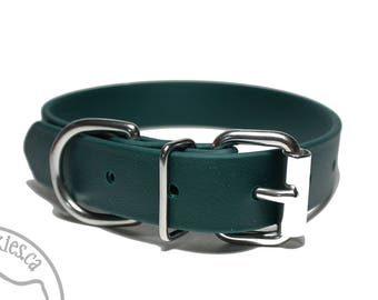"""NEW - Pine Green Biothane Dog Collar 1"""" (25mm) Wide - Choice of: size and hardware - Stainless steel or Brass Hardware - Vegan Leather"""