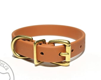 """Caramel Brown 3/4"""" (19mm) Beta Biothane Dog Collar - Leather Look and Feel - Custom Dog Collar - Stainless Steel or Solid Brass Hardware"""