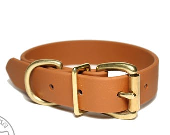 """Caramel Brown Biothane Dog Collar - 1"""" (25mm) wide - Solid Brass or Stainless Steel Hardware - Leather Look and Feel - Waterproof"""