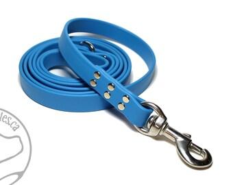 "Caribbean Blue Genuine Biothane© Large Dog Leash - 3/4"" (19mm) Wide - Waterproof - Handcrafted - Custom length - Choice of hardware"