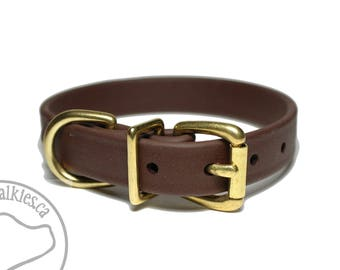 """Dark Chocolate Brown 3/4"""" (19mm) Beta Biothane Dog Collar - Leather Look and Feel - Custom - Stainless Steel or Solid Brass Hardware"""