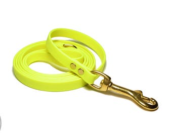 """Sunny Neon Yellow Small Dog Leash - 12mm Wide (1/2"""") Thin Biothane Leash - Choice of: 4ft, 5ft or 6ft (1.2m, 1.5m, 1.8m) and Hardware Type"""