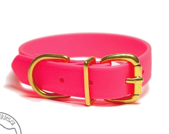 """Biothane Dog Collar / Neon Pink 1"""" (25mm)Wide  - Leather Look and Feel - Custom Dog Collar - Choice of Size and Hardware Type"""