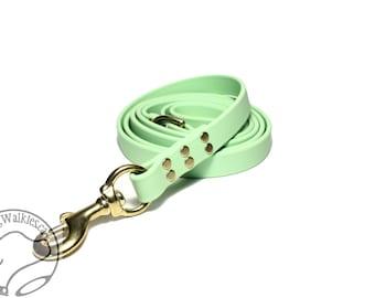 "Mint Pastel Green Genuine Biothane© Large Dog Leash - 3/4"" (19mm) Wide - Waterproof - Handcrafted - Custom length - Choice of hardware"