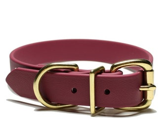 """Biothane Dog Collar - Wine Merlot - 1"""" (25mm) wide - Stainless Steel or Solid Brass Hardware - leather look and feel - Custom Collar"""