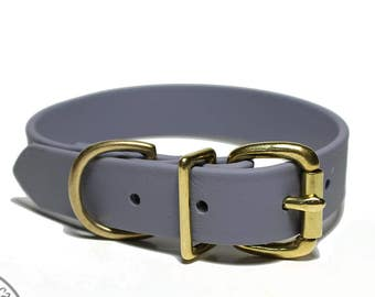 """NEW - Stormy Gray Biothane Dog Collar / 1"""" (25mm) Wide / Leather Look and Feel / Stainless Steel or Solid Brass Hardware / Custom Collar"""