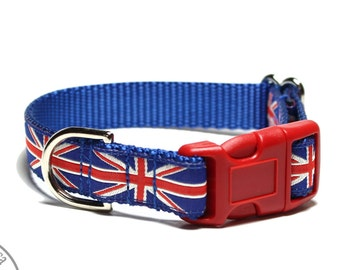 "Union Jack Dog Collar // 3/4"" (19mm) Wide // Martingale or Side Release // Great Britain UK Flag // Choice of Size and Style // Red // Blue"