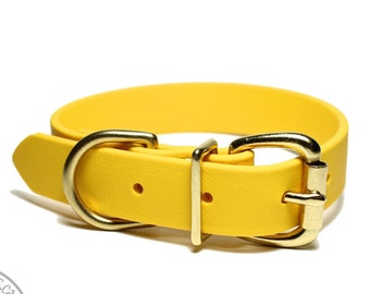 """Biothane Dog Collar - Sunflower Yellow 1"""" (25mm) wide - Leather Look and Feel - Custom Dog Collars - Stainless Steel or Brass Hardware"""