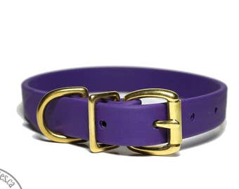 """Royal Purple 3/4"""" (19mm) wide Beta Biothane Dog Collar - Leather Look and Feel -  Custom Sized Collar - Stainless Steel or Brass Hardware"""
