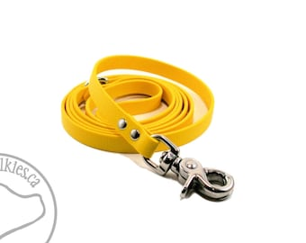 """Sunflower Yellow Small Dog Leash - 1/2"""" (12mm) Wide Biothane Leash - Choice of: 4ft, 5ft or 6ft (1.2m, 1.5m or 1.8m) and Hardware Type"""