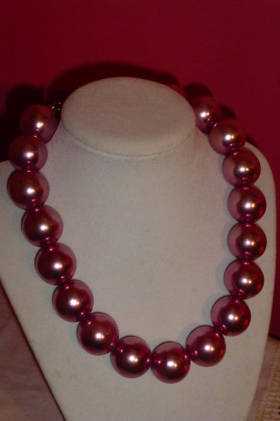 Vintage Super Size Lustrous Mauve Pink Faux Pearl