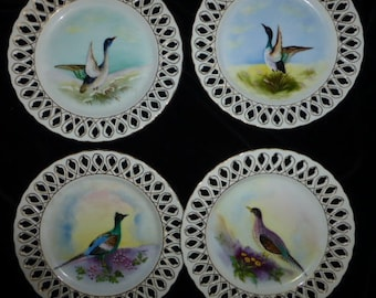 Set Of 4 Vintage Bird Plates, Gorgeous Hand Painted Color, Lacey Gilt Detailed Cut-Outs, Ca. 1950's - 60's. A+ Condition