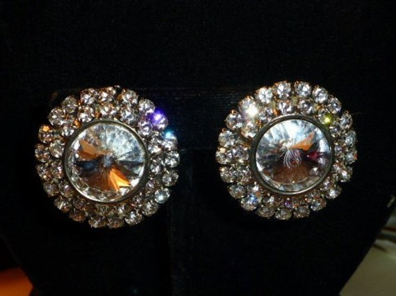 Huge Vintage Sparkling Rhinestone Disk Clip Earrin