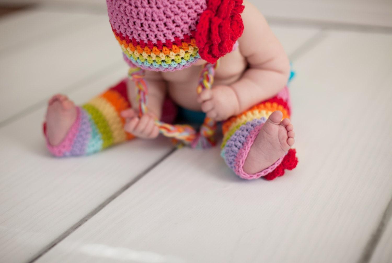 Baby-Beine Leggings Baby-Stulpen Stulpen Regenbogen häkeln