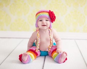 baby girl hat, rainbow hat, girls rainbow hat, girls hat, little girls hat, crochet girl hat, baby girl hat, kids hat, crochet kids hat