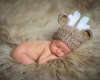 baby hat, newborn boy hat, deer hat, baby shower gift, newborn deer hat,  baby boy hat, crochet deer hat, baby deer hat, baby winter hat