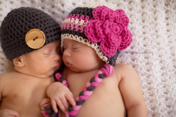 Twin hats newborn twin hats boy and girl twin hats baby
