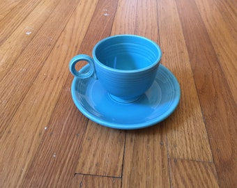 FIESTA turquoise tea cup and saucer VINTAGE