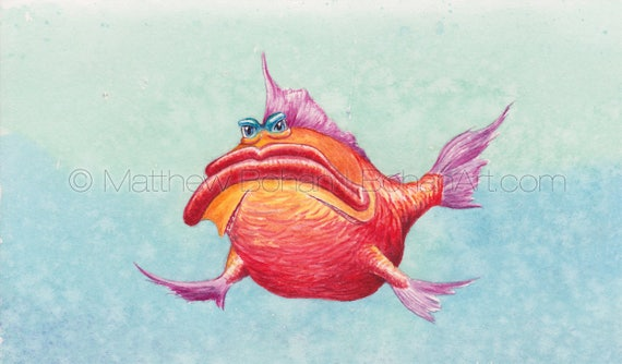 PRINT of Grump Crazy Fish Fish Art Fish | Etsy