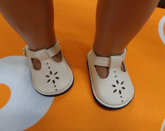 """Cream Vintage style Mary Jane- Doll Shoes for 18 inch Dolls- Shoes fits 18"""" Dolls Fits American Girl"""