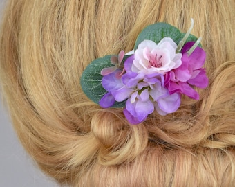 Small Pink and Purple Blossom and Eucalyptus  Hair Comb