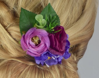 Silk Flower Hair Clip in Pink, Lilac and Purple