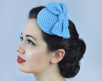 4482516be2892 Retro 1950s Style Bow Fascinator in Polka Dot in Light Blue