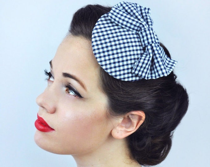 Retro Gingham Bow Fascinator in Lilac,  Red or Navy Blue | Retro Hat | Vintage Fascinator | Gingham Hat | Summer Hat | Summer Fascinator