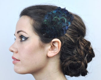 Feather Hair Clip in Black Blue Pheasant Feathers