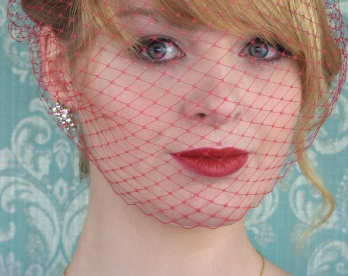 Red Birdcage Net Veil