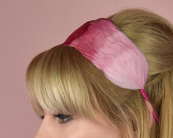 Flamingo Ombre Pink Goose Feather Headband