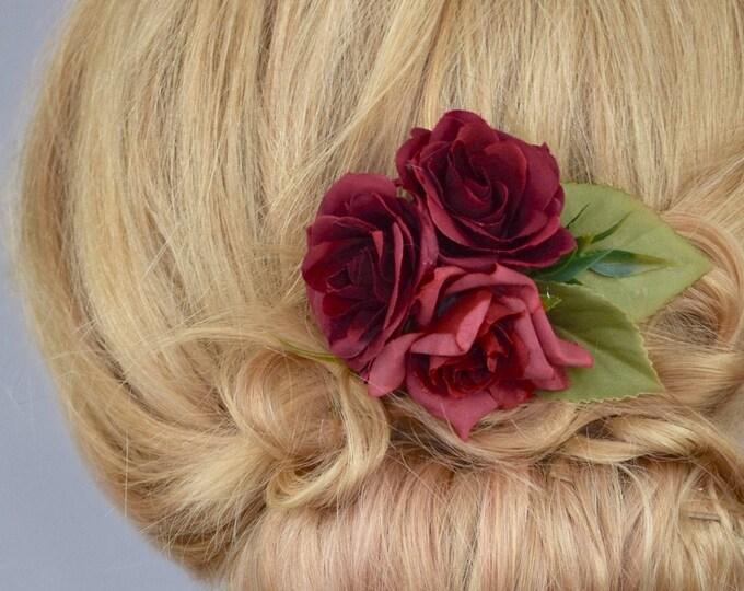 Silk Flower Hair Clip in Crimson Red Roses