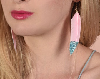 Pastel Pink Feather Earrings with Turquoise Glitter Tips