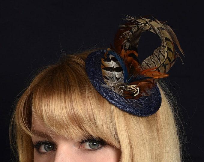 Navy Blue Pheasant Feather Fascinator
