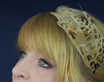 Hen Pheasant Feather Headband | Pheasant Feather Crown | Pheasant Feather Headpiece | Pheasant Feather Fascinator | Wedding Fascinator