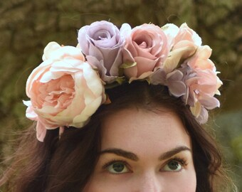 Pastel Flower Crown in Dusky Pink, Peach and Lilac