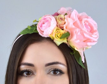 Side Perching Pale Pink and Peach Flower Crown Headband