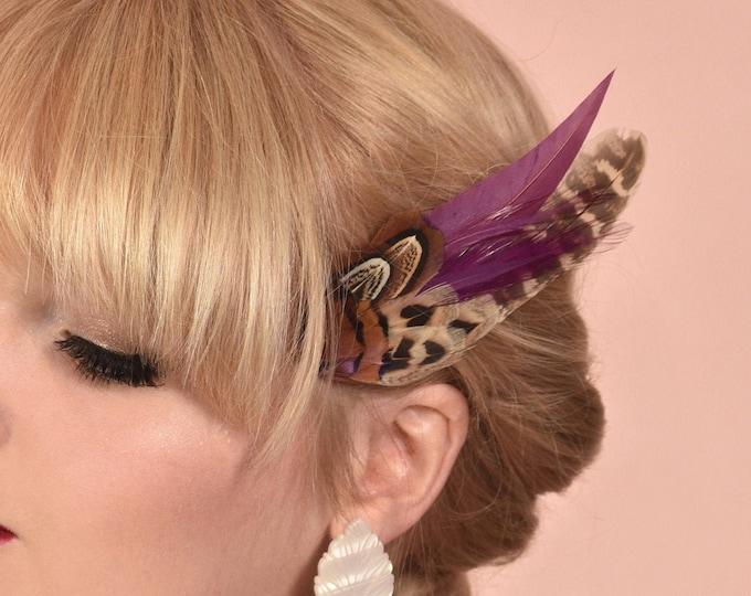 Plum and Pheasant Feather Hair Clip