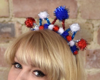 Tinsel Crown Headband in Red, White and Blue