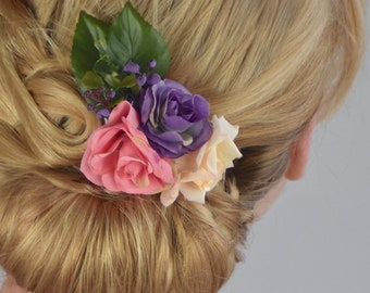 Silk Flower Hair Clip in Pink, Ivory and Purple