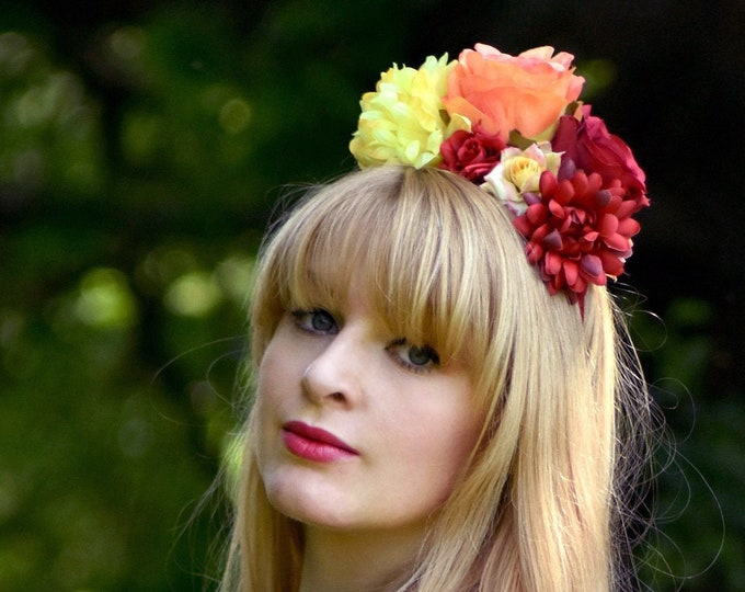 Frida Kahlo Flower Crown in Red, Orange and Yellow