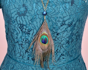 Peacock Feather Long Pendant Necklace