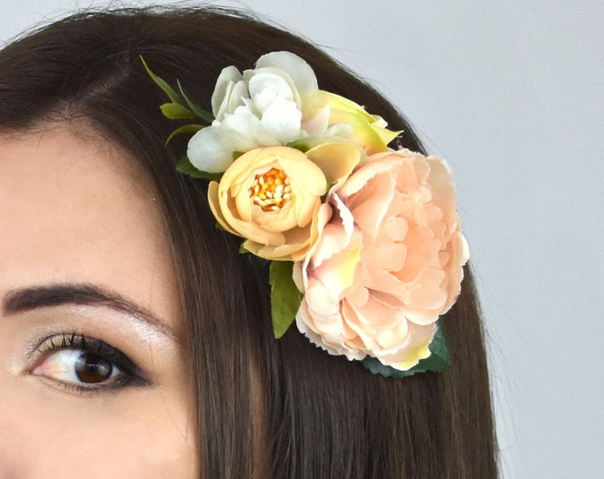 Peach and Blush Pink Vintage Style Peony Flower Hair Clip