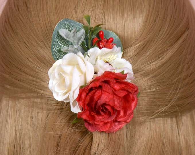 Silk Flower Hair Clip in Red and Off-white Roses